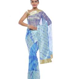 Buy Multicolor woven net saree with blouse tie-dye-saree online