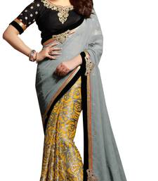 Buy Grey embroidered brasso saree with blouse contemporary-saree online