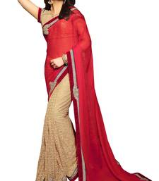 Buy Red embroidered net saree with blouse contemporary-saree online