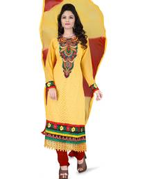 Buy Yellow embroidered georgette salwar