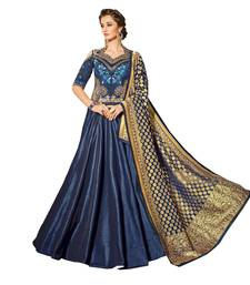 Buy Blue embroidered silk unstitched lehenga with dupatta party-lehenga online