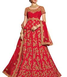 Red embroidered silk unstitched bridal lehenga with dupatta