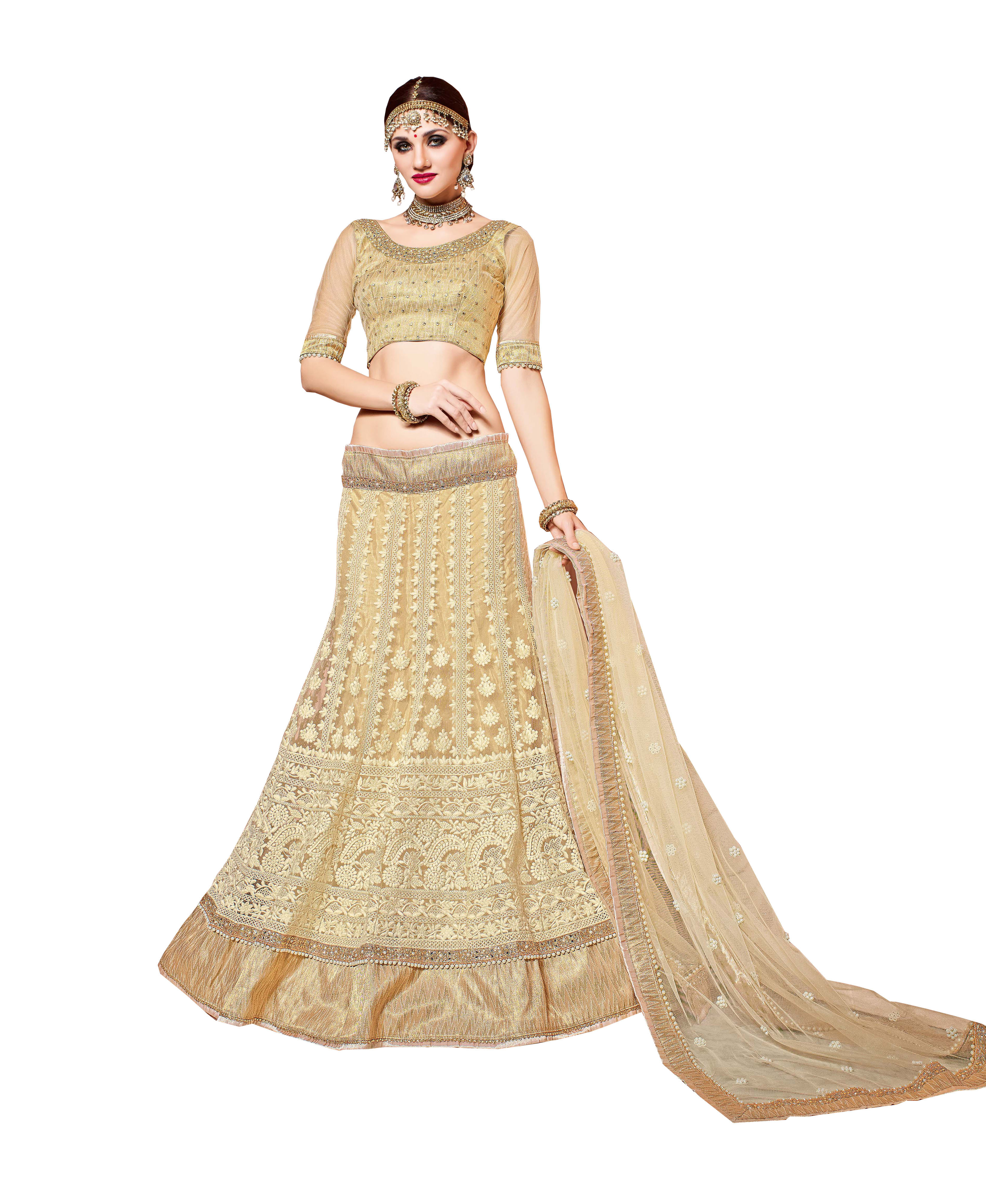 3bc0cb707703c Gold embroidered net unstitched lehenga with dupatta - Patang International  - 2363756