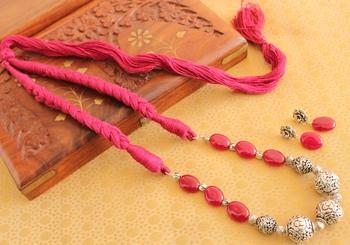 Beautiful Handmade Silver Beads Designer Necklace Set