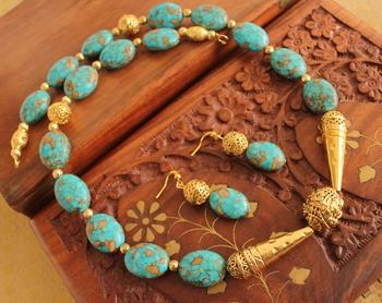 Gorgeous Antique Handmade Onyx Blue Beads Necklace set -Dj13422