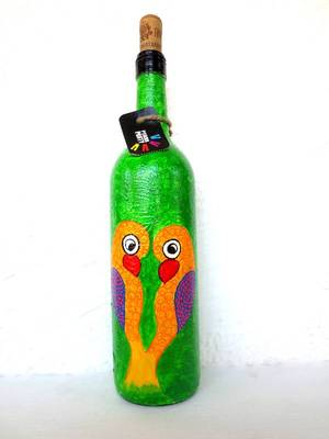 Recycle.Reuse.Rehyderate-LOVE BIRDS-hand-painted bottles