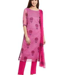 Buy Pink printed cotton salwar with dupatta dress-material online