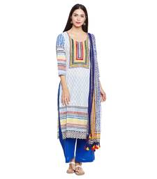 Buy White  printed cotton salwar with dupatta dress-material online
