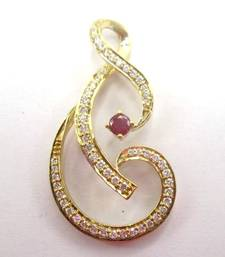 "Buy 14K Gold Ruby & White Diamond And Shaped Pendant on 17"" chain gemstone-pendant online"