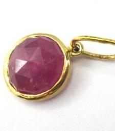 Buy 3.98Cts Beautiful Pink Sapphire Round Pendant 14K gemstone-pendant online