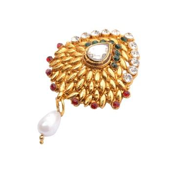 Stylish Embellished Golden   Brooch/ Saree Pin