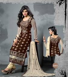 Buy Brown Embroidered   Viscose  Semi-Stiched Party Wear Straight Salwar Kameez party-wear-salwar-kameez online