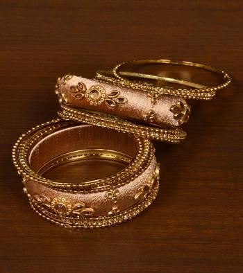 Silk Thread and Zircon Stone Embellished Designer Bangle Set