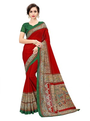Multicolor printed manipuri silk saree with blouse