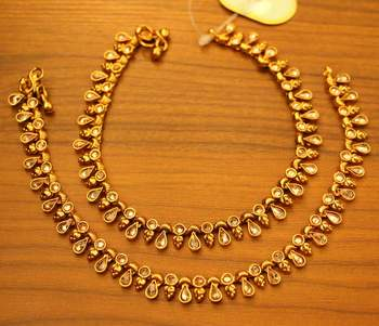Gold Polki Look Antique Anklets