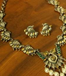 Oxidized Silver Plating Emerald Look Peacock Necklace Set