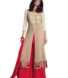 Buy beige embroidered net semi stitched salwar with dupatta net-salwar-suit online