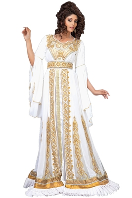 Unique White & Gold Embroidered Designer Caftan