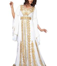 Unique White & Gold Embroidered Designer Kaftan