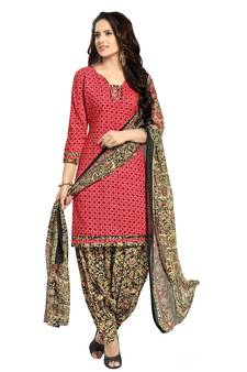 b7ddf0c8e06 red printed cotton poly unstitched salwar with dupatta