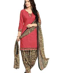 Buy red printed cotton_poly unstitched salwar with dupatta punjabi-suit online