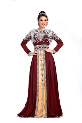 Maroon And Beige Color Exclusive Kaftans Silk Designer Kaftan