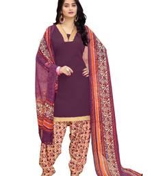 Buy purple plain crepe unstitched salwar with dupatta punjabi-suit online