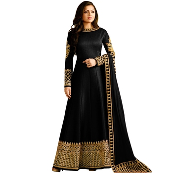 Black embroidered Bangalore Silk Salwar Suit