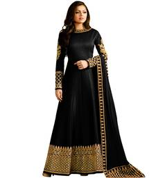 Buy Black embroidered silk salwar semi-stitched-salwar-suit online
