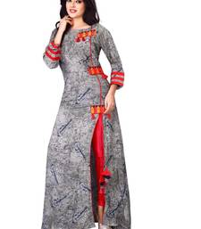 Grey embroidered rayon stithced party-wear-kurtis