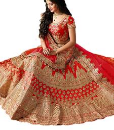 Buy Red embroidered silk unstitched lehenga lehenga-choli online
