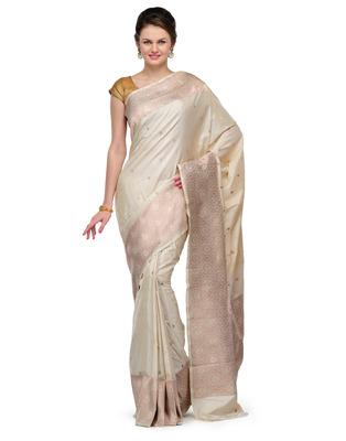 e6fd17b524 Silver color weaved zari work slik banarasi saree hand woven with blouse -  sspk - 319732
