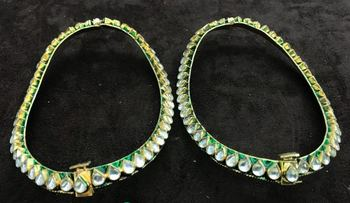 Unique traditional designer meena kundan 2 pc jodha style heavy anklet payal