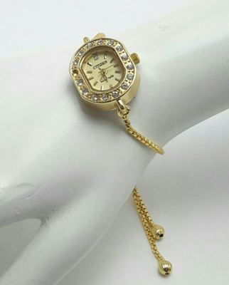 GOLD PLATED WATCH CUM BRACELET ADJUSTABLE