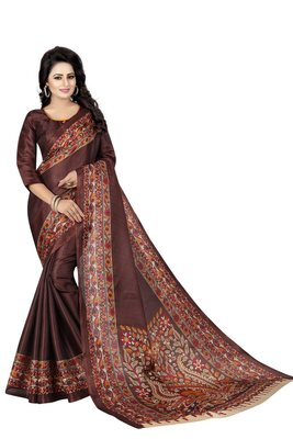 Brown printed art silk sarees saree with blouse