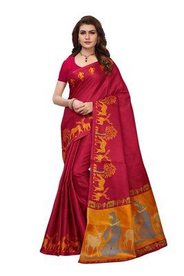 Maroon printed art silk sarees saree with blouse