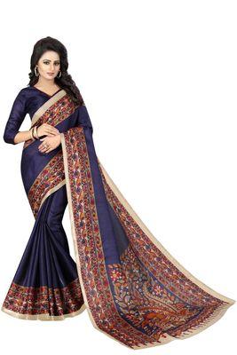Navy blue printed art silk sarees saree with blouse