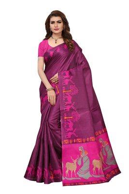 Wine printed art silk sarees saree with blouse