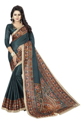 Turquoise printed art silk sarees saree with blouse