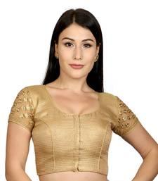 Gold Jacquard Silk Woven stitched blouse
