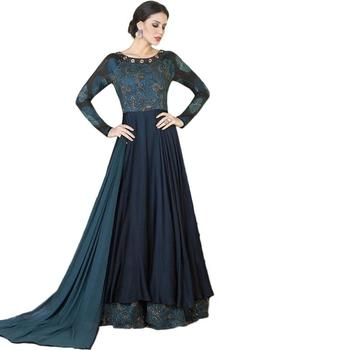 Navy blue hand woven tussar Anarkali Suit