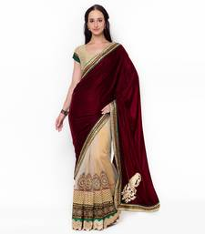 Beige embroidered velvet saree with blouse