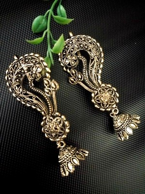 Buy Antique Gold Oxidised Ear Cuff Jhumka Online