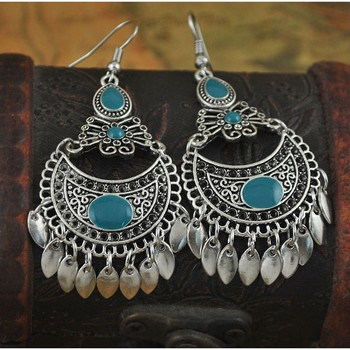 Oxidised blue chandbali earring