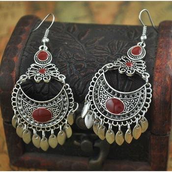 Oxidised maroon chandbali earring