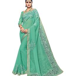 Buy Light green embroidered georgette saree with blouse gift-saree online