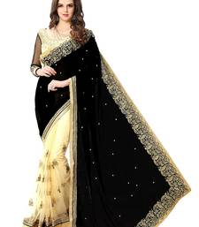 Buy Black embroidered georgette saree with blouse half-saree online