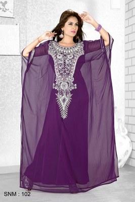 Purple  Embroidered  Faux Georgette  Farasha