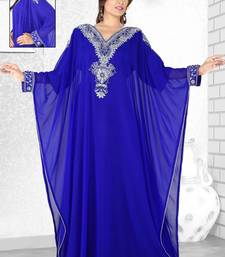 Buy Royal blue  embroidered  faux georgette  farasha