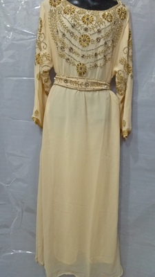 Cream Georgette Hand Embroidery Stitched Abaya